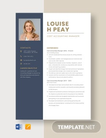Cost Accounting Manager Resume Template