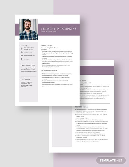 Cost Accounting Resume Template [Free Pages] - Word, Apple Pages