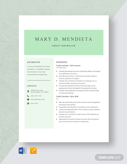 Credit Controller Resume Template