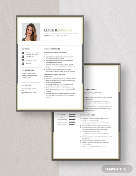 Credit Research Analyst Resume Template Download