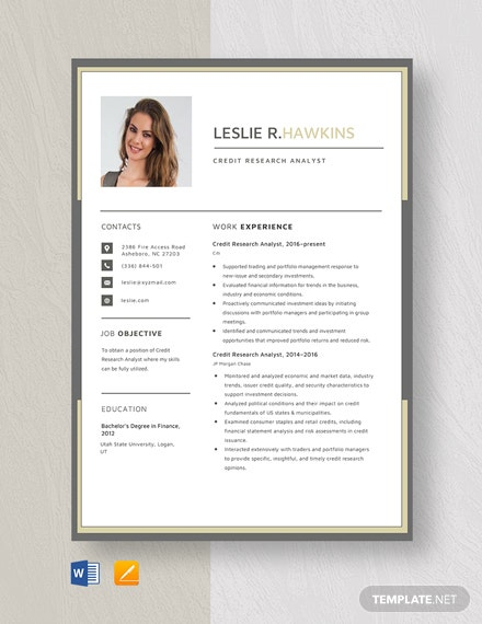 Credit Research Analyst Resume Template