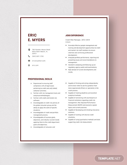 Credit Risk Manager Resume  Template