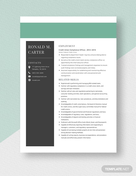 Credit Union Compliance Officer Resume  Template