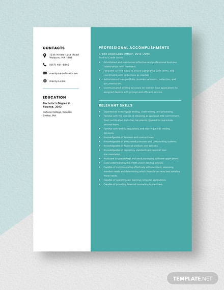 Credit Union Loan Officer Resume Template