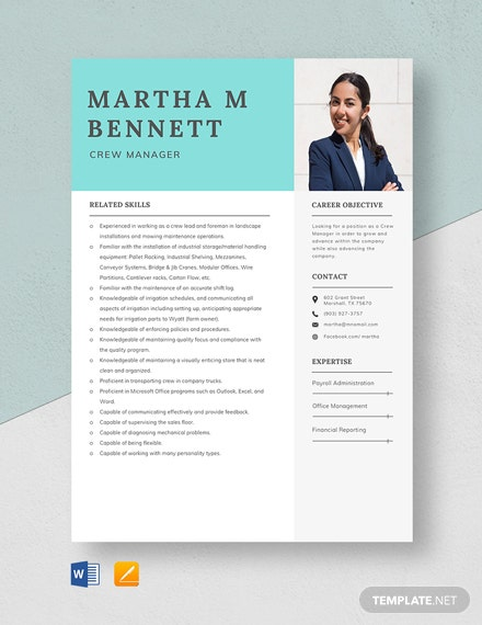 Crew Manager Resume Template