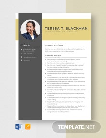 Crisis Intervention Counselor Resume Template