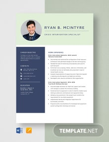 Crisis Intervention Specialist Resume Template