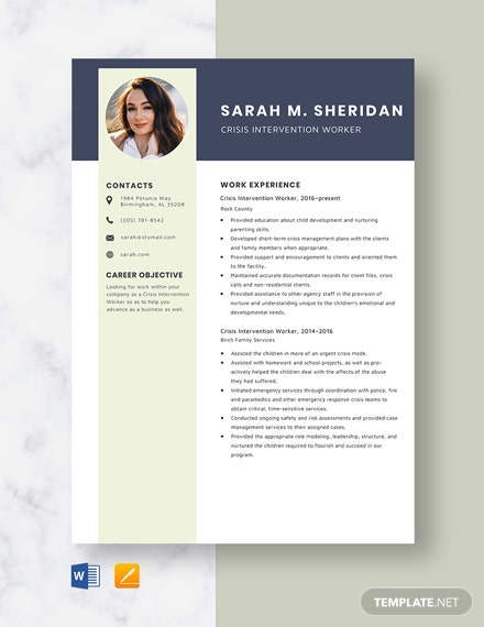 Crisis Intervention Worker Resume Template