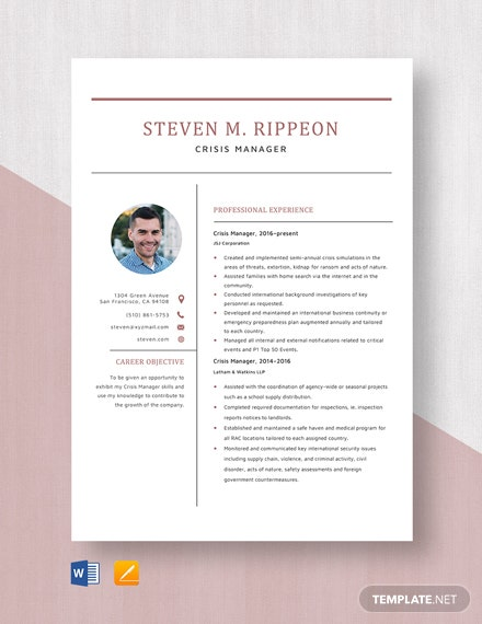 Crisis Manager Resume Template