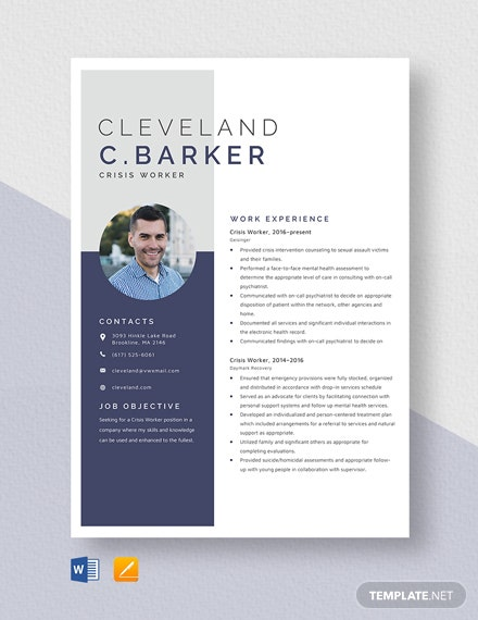 Crisis Worker Resume Template