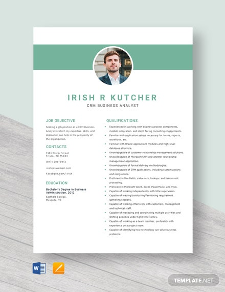 CRM Business Analyst Resume Template