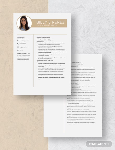 Crystal Report Writer Resume  Download