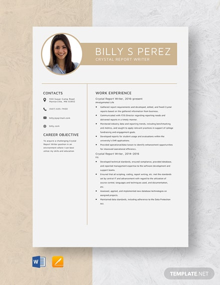 Crystal Report Writer Resume
