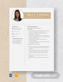Crystal Report Writer Resume Template