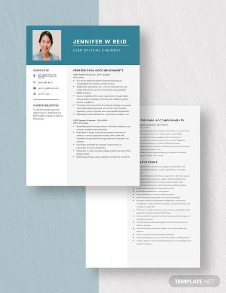 CSEP Systems Engineer Resume Template Download