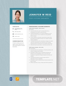 CSEP Systems Engineer Resume Template