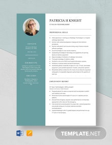 CT Scan Technologist Resume Template