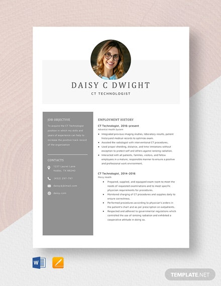 CT Technologist Resume Template