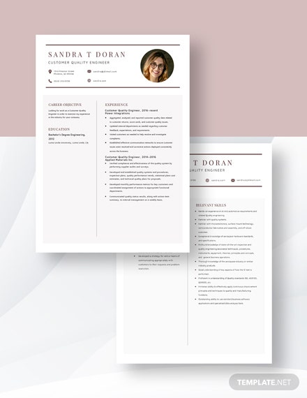 Customer Quality Engineer Resume  Download