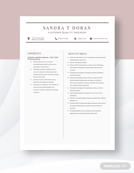 Customer Quality Engineer Resume  Template