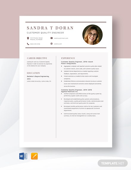 Customer Quality Engineer Resume