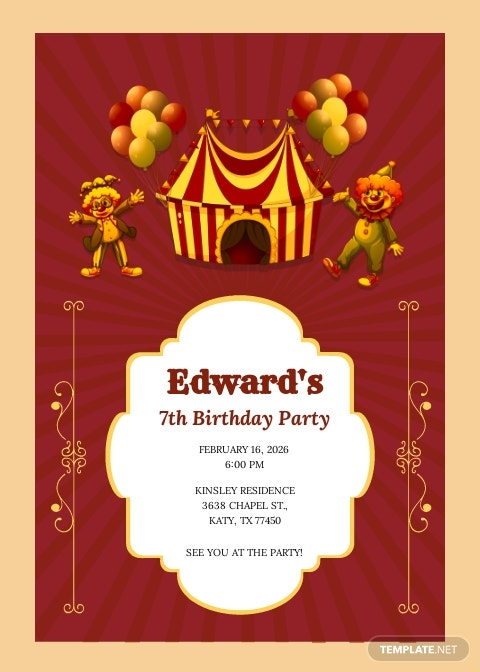 Circus Birthday Party Invitation Template