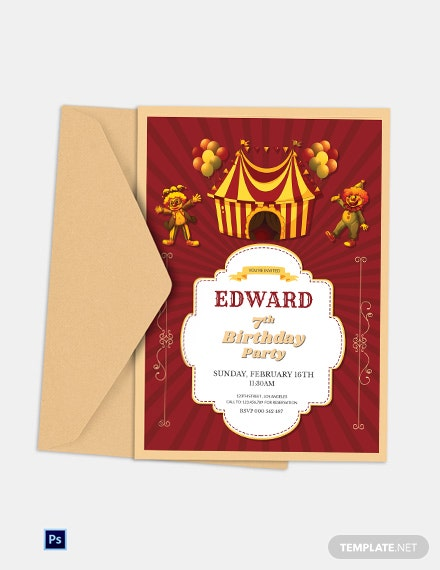 Circus Birthday Party Invitation Template