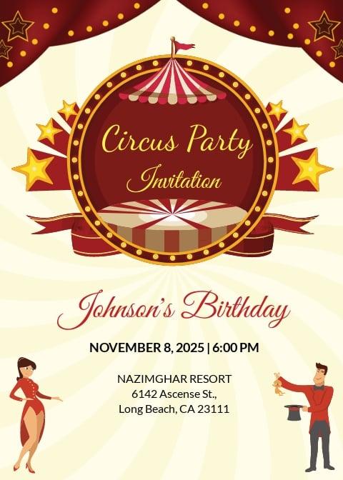 Kids Circus Birthday Invitation Template