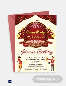 Kids Circus Birthday Invitation Template