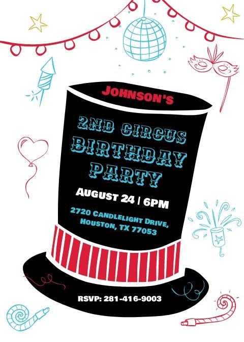 Birthday Circus Party Invitation Template