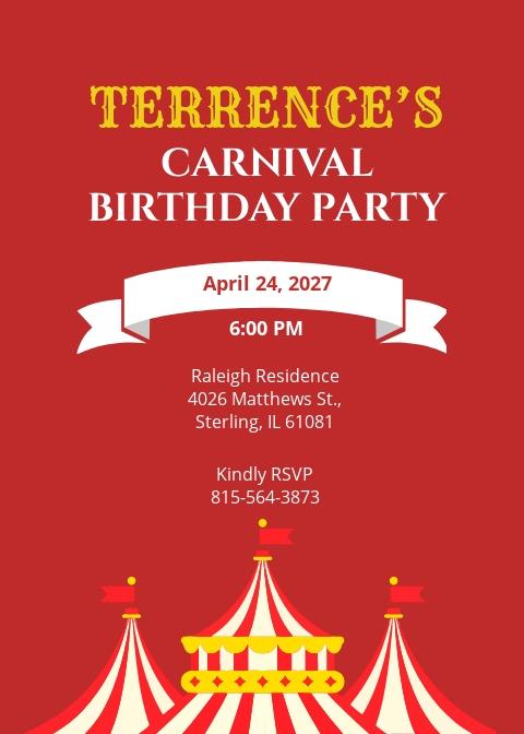 Circus Carnival Birthday Invitation Template