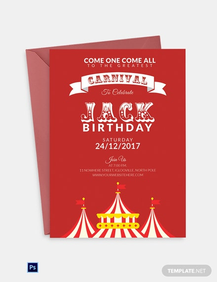Circus Carnival Birthday Invitation Template