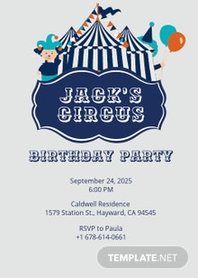 Beautiful Circus Birthday Invitation Template