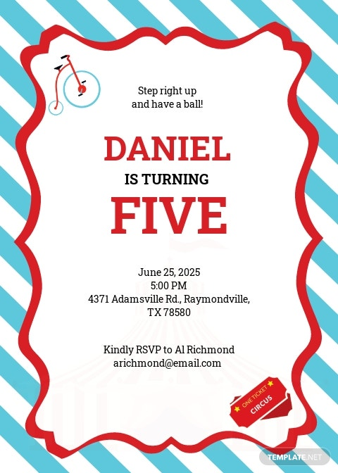 Printable Circus Birthday Invitation Template
