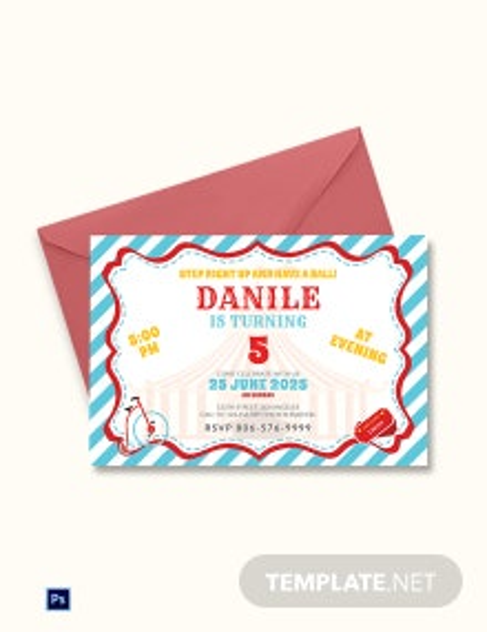 Printable Circus Birthday Invitation