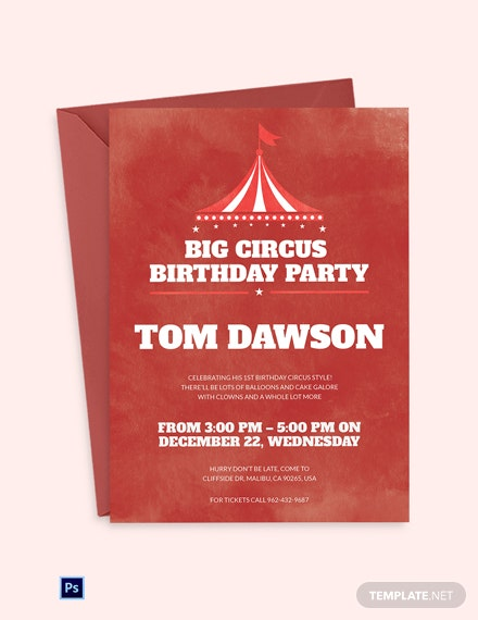 Watercolor Circus Birthday Invitation