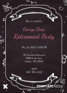 Chalkboard Retirement Party Invitation
