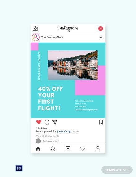 Free Airplane Travel Instagram Post Template