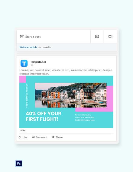 Free Airplane Travel LinkedIn Blog Post Template