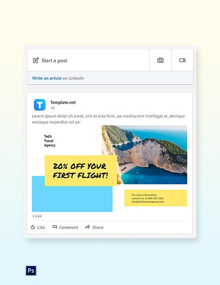 Free Creative Travel Agency LinkedIn Post Template