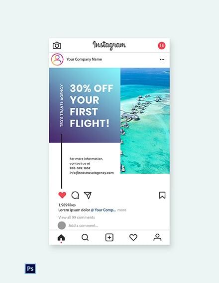 Free Editable Travel Instagram Post Template