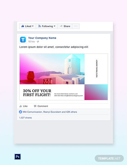 Free Elegant Travel Facebook Post Template