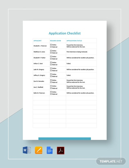 Application Checklist Template