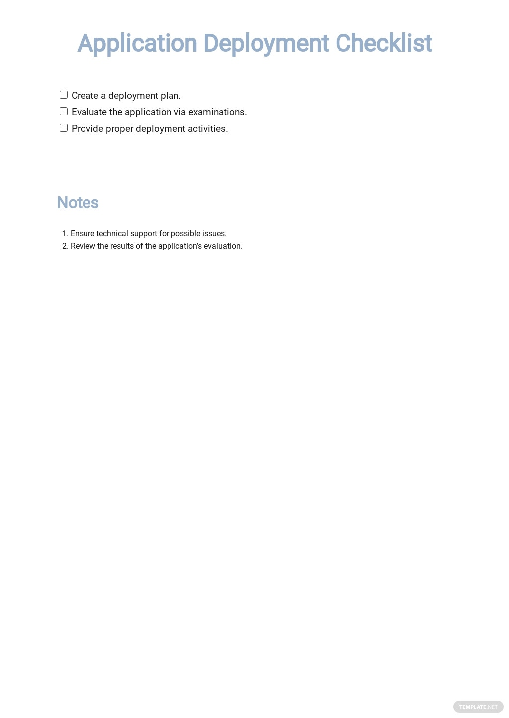 Application Deployment Checklist Template