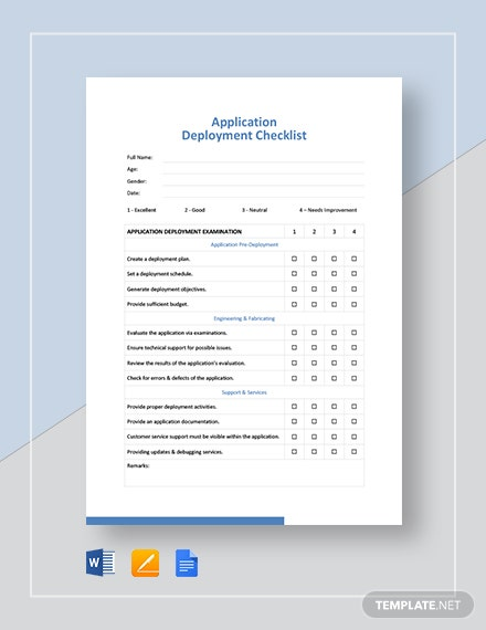 Application Deployment Checklist Template