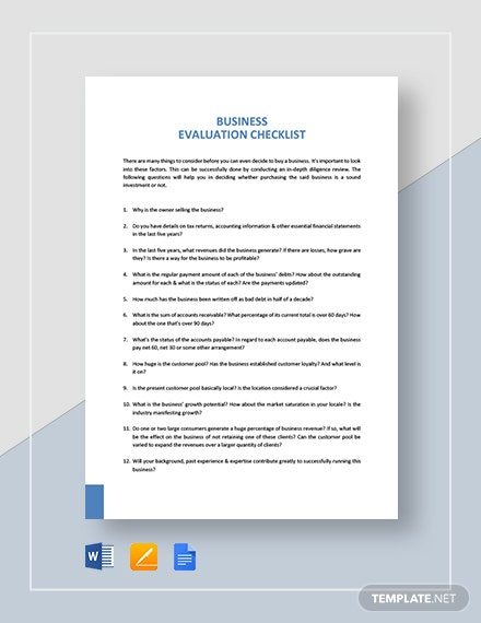 Business Evaluation Checklist Template