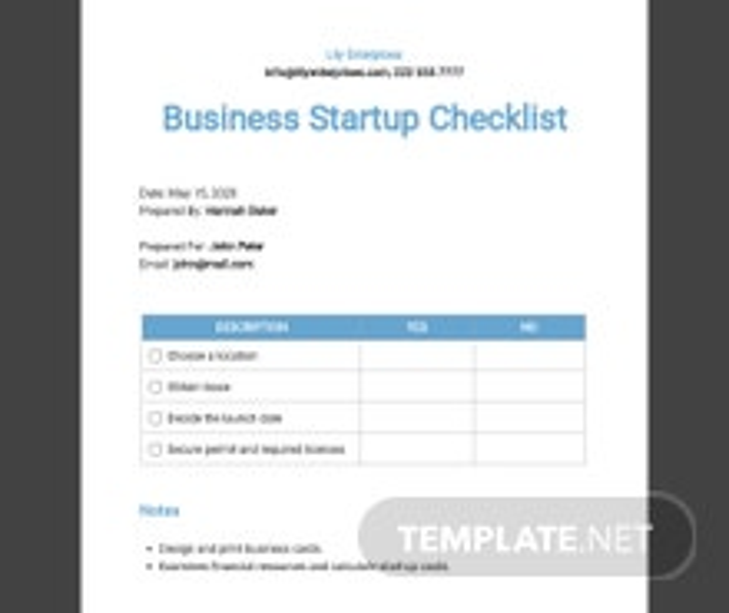 Business Startup Checklist Template