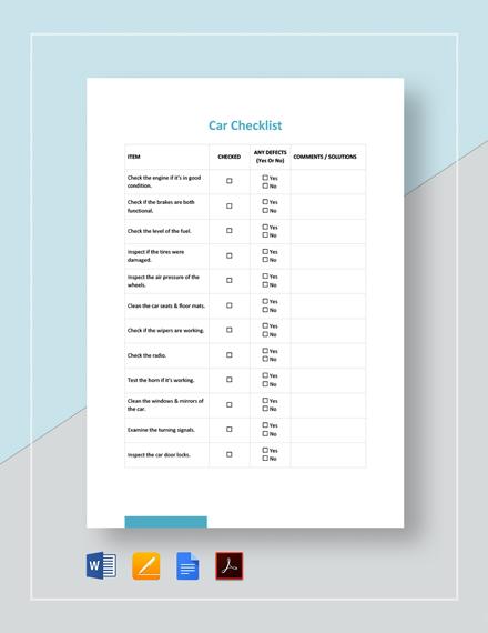 Car Checklist Template