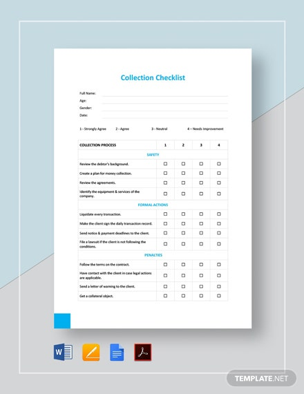 Collection Checklist Template