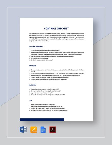 Control Checklist Template